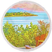 Beach House On The Bay Round Beach Towel