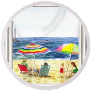 Beach House Window Round Beach Towel