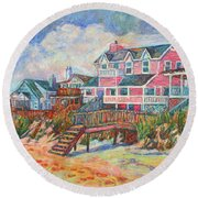 Beach Houses At Pawleys Island Round Beach Towel