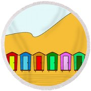 Beach Huts And Sand Round Beach Towel
