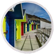 Beach Huts At Barry Island Round Beach Towel