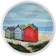 Beach Huts On The Sand Round Beach Towel