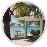 Beach In Grand Turk Round Beach Towel