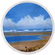 Beach In Norfolk, England Round Beach Towel
