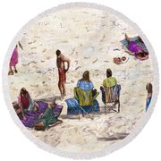 Beach Life Cornwall Round Beach Towel