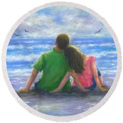 Beach Lovers Pink And Green Round Beach Towel