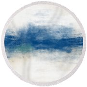 Beach Mood- Abstract Art By Linda Woods Round Beach Towel