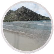 Beach Mountain Clouds Round Beach Towel