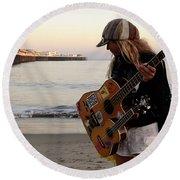 Beach Musician Round Beach Towel