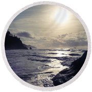 Beach - Oregon - Golden Sun Round Beach Towel