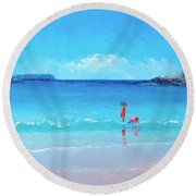 Beach Painting - A Sea Breeze Round Beach Towel
