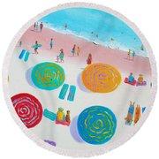 Beach Painting - A Walk In The Sun Round Beach Towel
