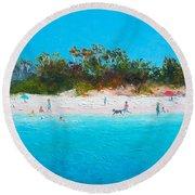 Beach Painting All Summer Long Round Beach Towel