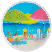Beach Painting - Beach Life Round Beach Towel