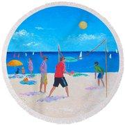 Beach Painting Beach Volleyball  By Jan Matson Round Beach Towel