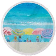 Beach Painting - Color Of Summer Round Beach Towel