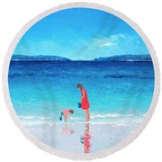 Beach Painting - Cooling Off Round Beach Towel