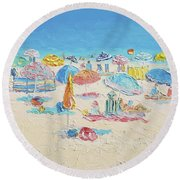 Beach Painting - Crowded Beach Round Beach Towel