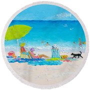 Beach Painting - Lazy Beach Day Round Beach Towel