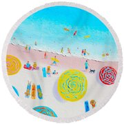 Beach Painting - Lazy Lingering Days Round Beach Towel