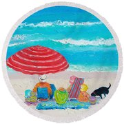 Beach Painting - One Summer Round Beach Towel