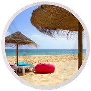 Beach Relaxing Round Beach Towel by Carlos Caetano