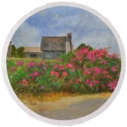 Beach Roses And Cottages Round Beach Towel