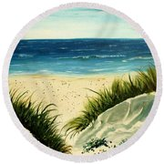 Beach Sand Dunes Acrylic Painting Round Beach Towel