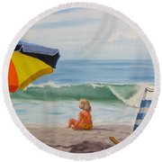 Beach Scene - Childhood Round Beach Towel