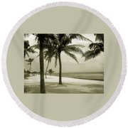Beach Scene In Key West Round Beach Towel