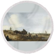 Beach Scene With Fishermen Round Beach Towel
