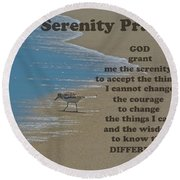 Beach Serenity Prayer Round Beach Towel