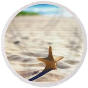 Beach Starfish Wood Texture Round Beach Towel