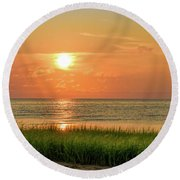 Beach Sunset Glory Round Beach Towel