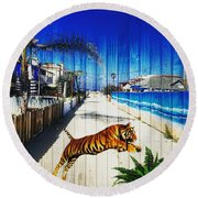 Beach Tiger  Round Beach Towel