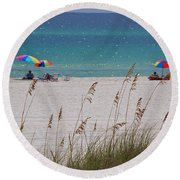 Beach Time At The Gulf - Before The Oil Spill Disaster Round Beach Towel