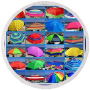 Beach Umbrella Medley Round Beach Towel