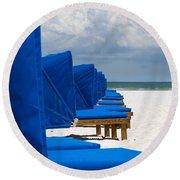 Beach Umbrellas 3 By Darrell Hutto Round Beach Towel