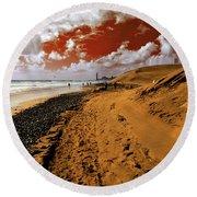 Beach Under A Blood Red Sky Round Beach Towel