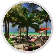 Beach Vacation Round Beach Towel