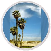 Beach View With Palms And Birds Round Beach Towel