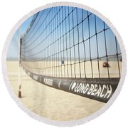 Beach Volleyball Net On The Sand At Long Beach, Ca Round Beach Towel
