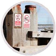 Beach Warning Round Beach Towel