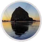 Beachcombers By Haystack Rock In Cannon Beach Round Beach Towel