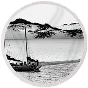Beached At Coorong Bw Round Beach Towel