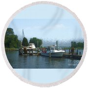 Beached Buoys Round Beach Towel