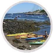 Beached Kayaks At Rockport Harbor Round Beach Towel