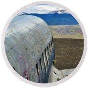 Beached Plane Wreckage - Iceland Round Beach Towel