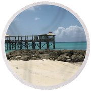 Beachfront Pier Round Beach Towel