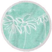 Beachglass And White Flowers 3- Art By Linda Woods Round Beach Towel